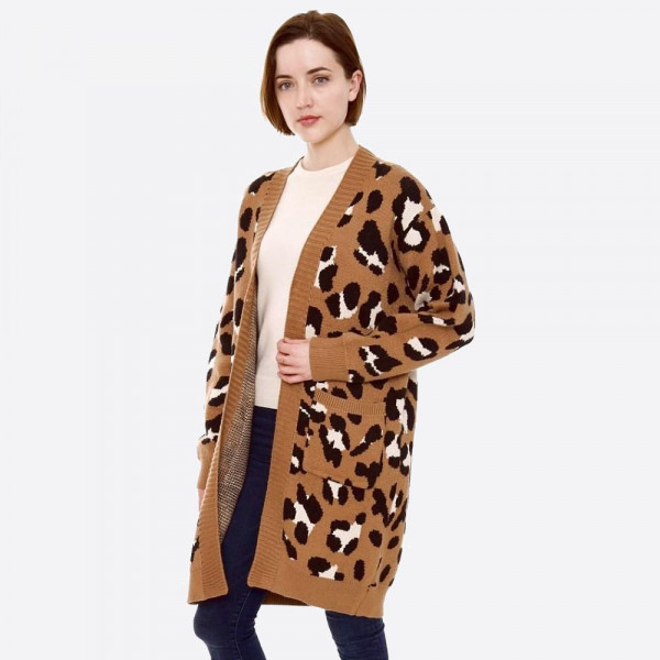 Wholesale leopard print knit cardigan front pocket details One fits most Polamid
