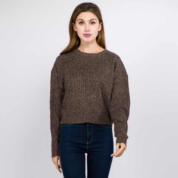 Wholesale solid color heather knitted crop sweater One fits most Polyester