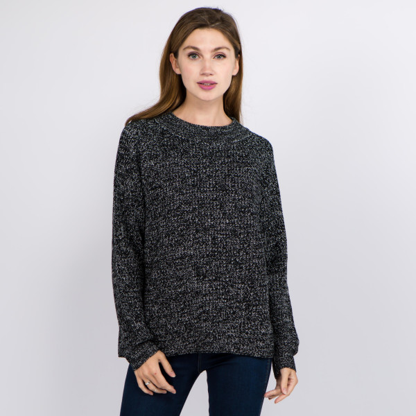Wholesale solid color heather knitted sweater One fits most Acrylic