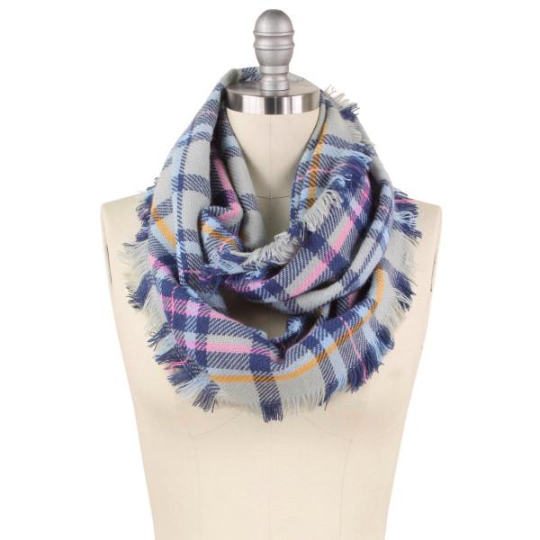 Wholesale plaid infinity scarf W L Acrylic