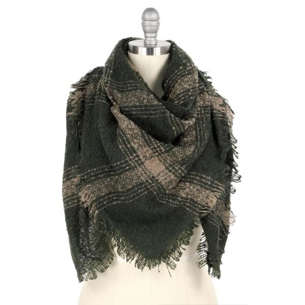 Wholesale plaid print blanket scarf W L Polyester