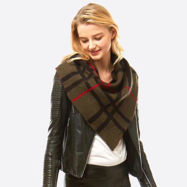 Wholesale plaid print knit infinity scarf Front W L Back W L Acrylic