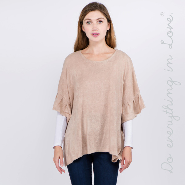 Wholesale do everything Love brand solid color short sleeve ruffle trim poncho O