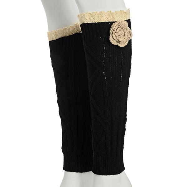 Wholesale black crochet boot toppers beige crochet flower ivory lace rimmed top
