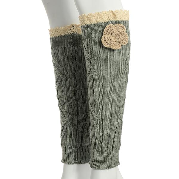 Wholesale gray crochet boot toppers beige crochet flower ivory lace rimmed top