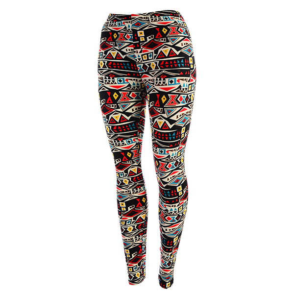 Wholesale peach skin Aztec print leggings Polyester spandex blend One fits most