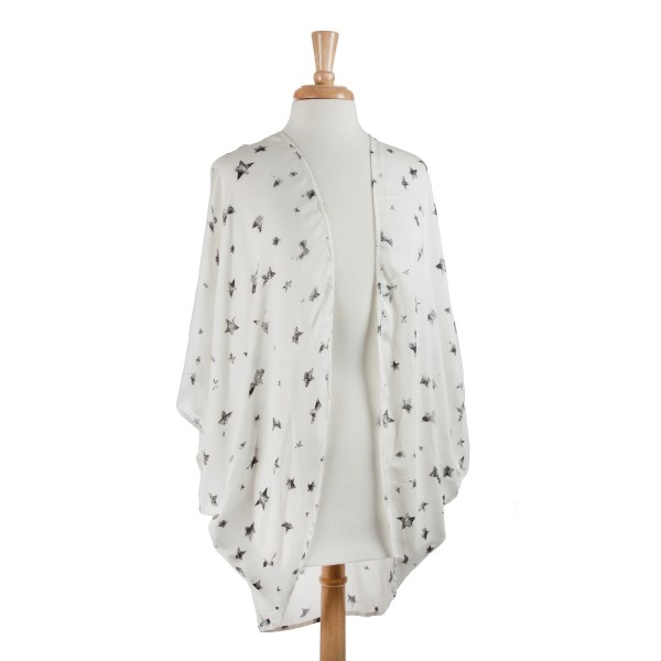 Wholesale lightweight white cotton polyester blend kimono top stars One fits mos