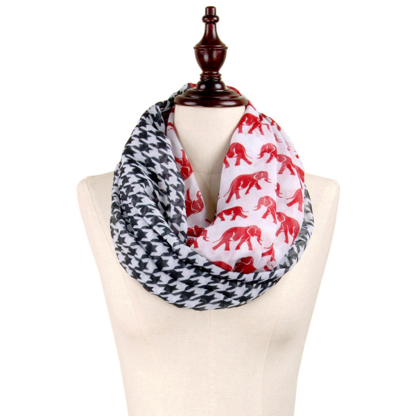Wholesale lightweight infinity scarf black white houndstooth crimson elephant pa