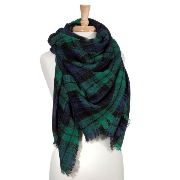 Wholesale green navy tartan plaid blanket scarf Acrylic