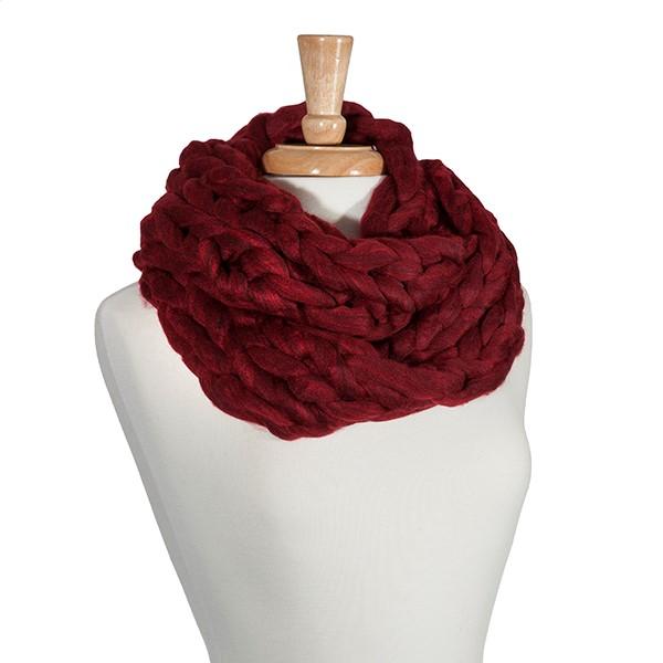 Wholesale crimson chunky knit infinity scarf Acrylic