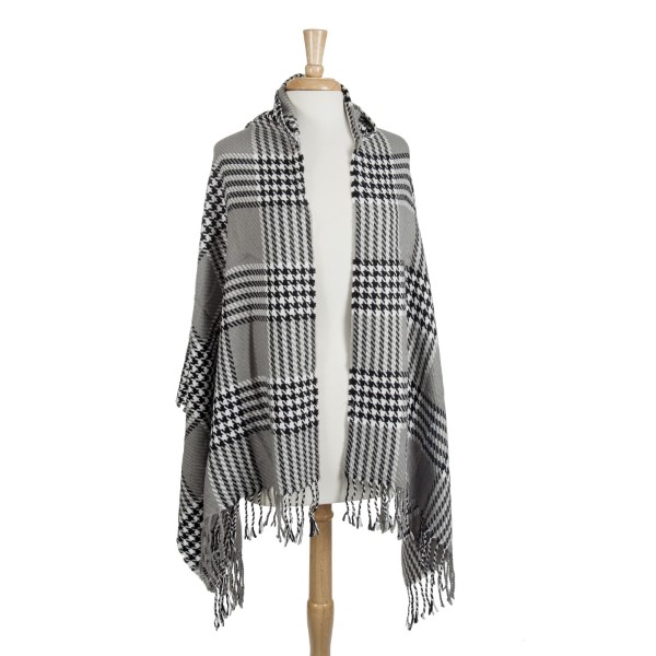 Wholesale gray black white houndstooth plaid hoodie cape fringe Acrylic polyeste