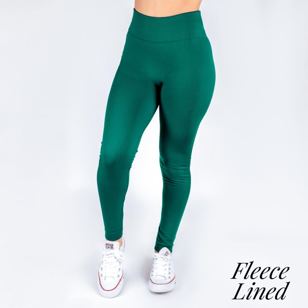 Wholesale kathy Mix hunter green fleece lined leggings seamless chic must have