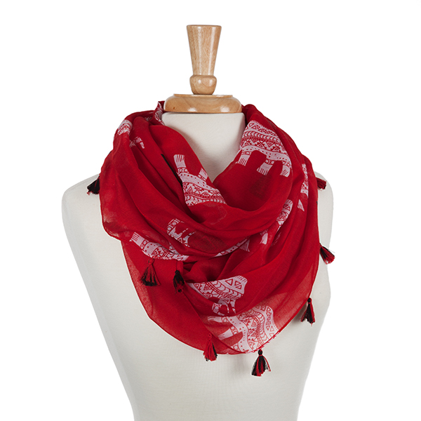 Wholesale lightweight red scarf displaying white ethnic elephants black tribal d