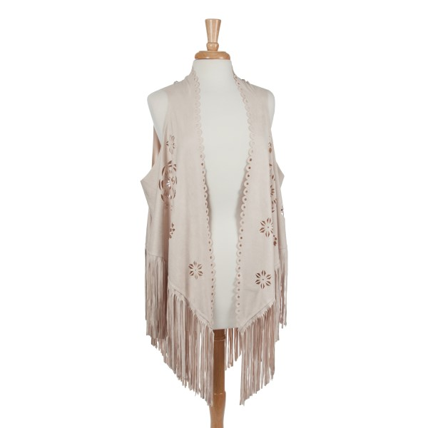 Wholesale ivory faux suede laser cut vest long fringe Polyester One fits most