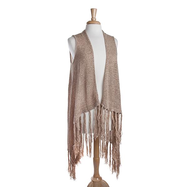 Wholesale long taupe knit vest fringe Acrylic Nylon One fits most
