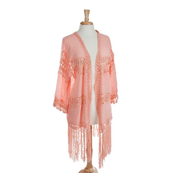 Wholesale pink crochet sleeve kimono fringe One fits most Viscose polyester