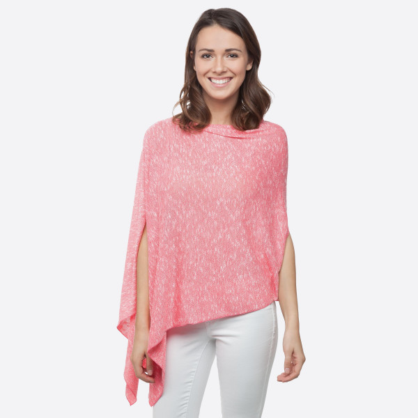 Wholesale coral lightweight sweater knit poncho asymmetrical hem Polyester Rayon