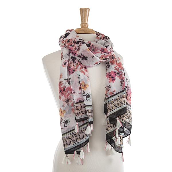 Wholesale lightweight pink black flower print oblong scarf Viscose polyester