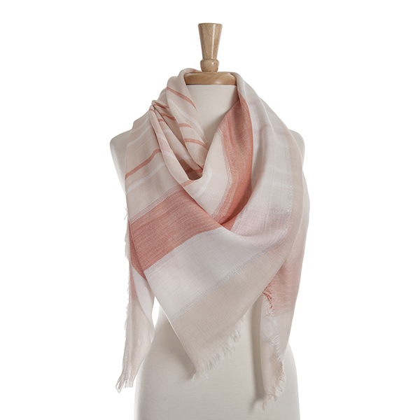 Wholesale beige open scarf hot pink white stripes frayed edges polyester viscose