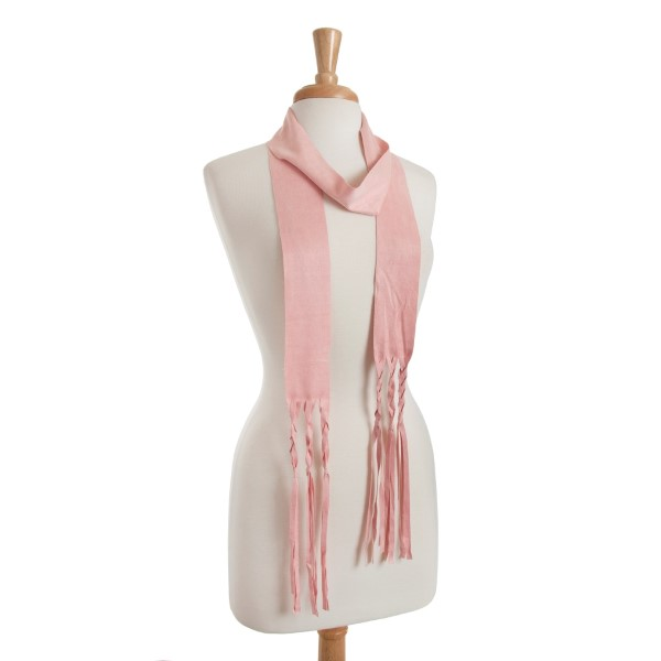 Wholesale light pink faux suede skinny scarf braided fringe detail