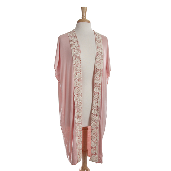 Wholesale pale pink short sleeve long cardigan ivory crochet detailing down fron