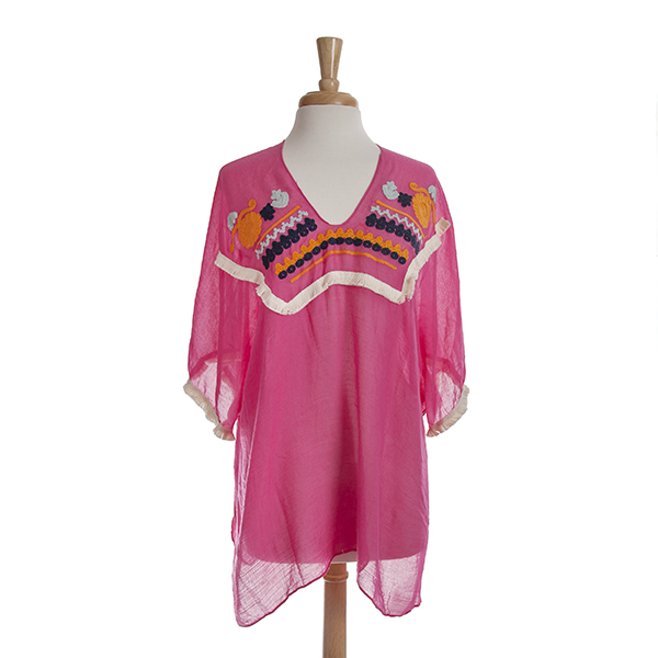 Wholesale hot pink poncho top ivory fringe multi colored crochet details One fit