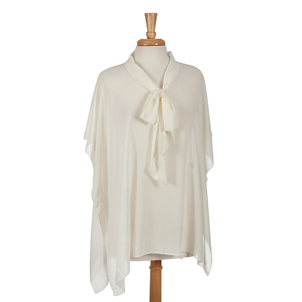 Wholesale ivory poncho top bow front polyester One fits most