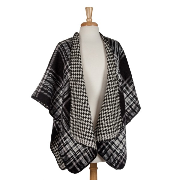 Wholesale black white reversible kimono houndstooth plaid acrylic One fits most