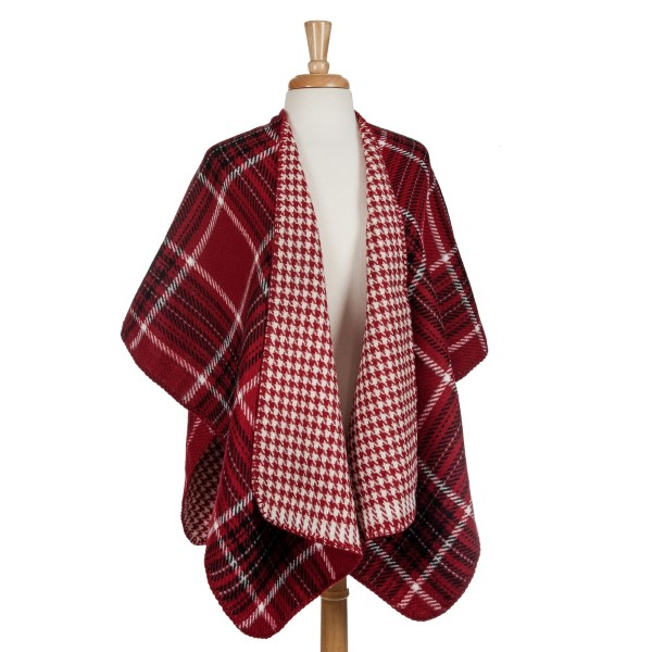 Wholesale red black white reversible kimono houndstooth plaid acrylic One fits m