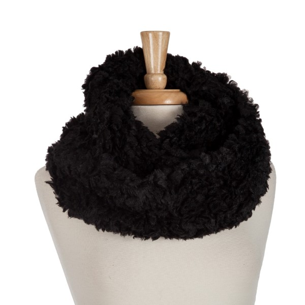 Wholesale black faux fur infinity scarf acrylic