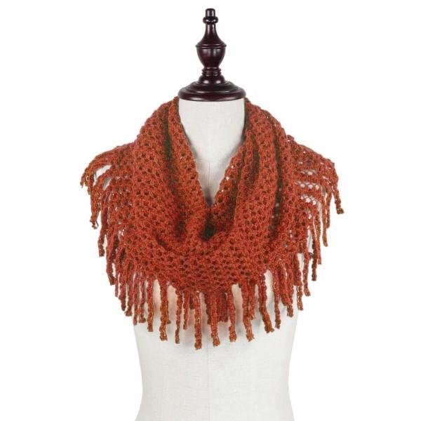 Wholesale rust orange knit tube scarf fringe acrylic