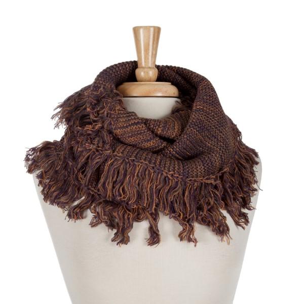 Wholesale orange red purple infinity scarf frayed edges acrylic