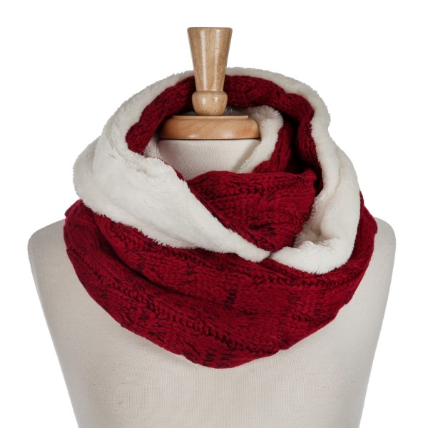 Wholesale red cable knit infinity scarf faux fur inside acrylic