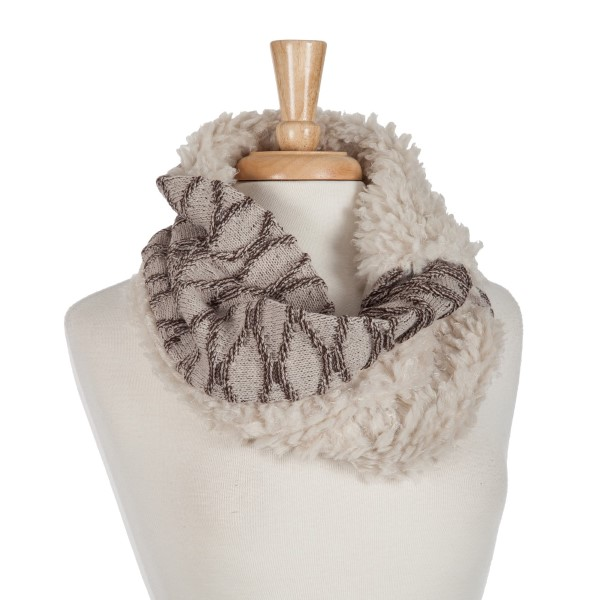 Wholesale beige brown snood scarf faux fur inside