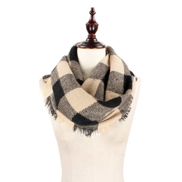 Wholesale black tan heavyweight buffalo plaid infinity scarf fringe acrylic