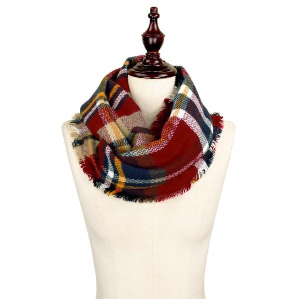 Wholesale burgundy navy white plaid infinity scarf acrylic