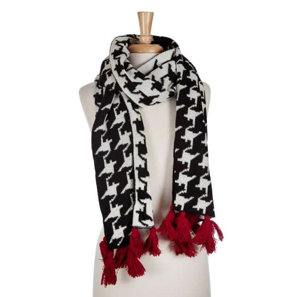 Wholesale black white hounds tooth open scarf red tassels acrylic