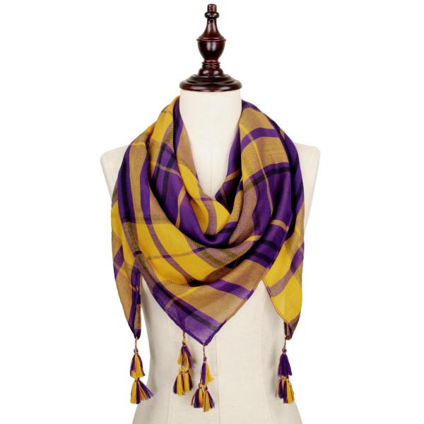 Wholesale purple gold lightweight plaid scarf tassels polyester