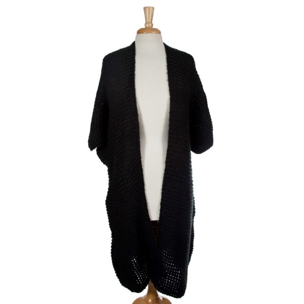 Wholesale black knit duster short sleeves loose fit acrylic One fits most