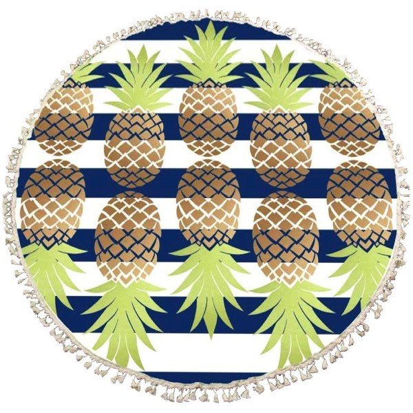 Wholesale blue white striped roundie pineapple print roundie can be used beach w