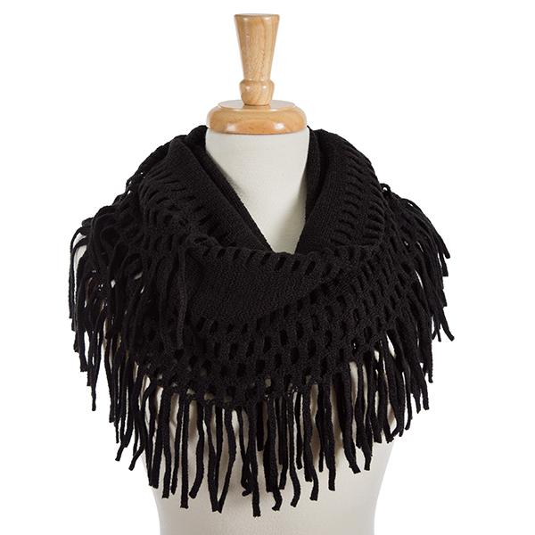Wholesale solid black infinity scarf fringe detailing acrylic