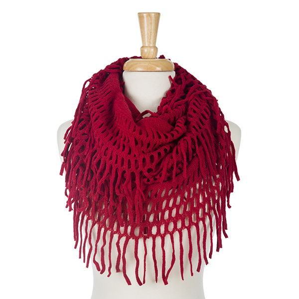 Wholesale solid red infinity scarf fringe detailing acrylic