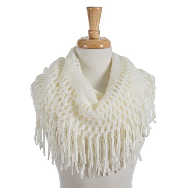 Wholesale solid ivory infinity scarf fringe detailing acrylic
