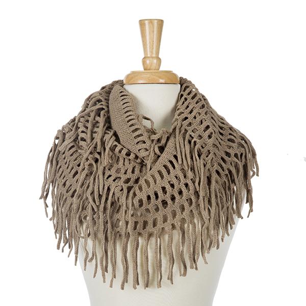 Wholesale solid taupe infinity scarf fringe detailing acrylic
