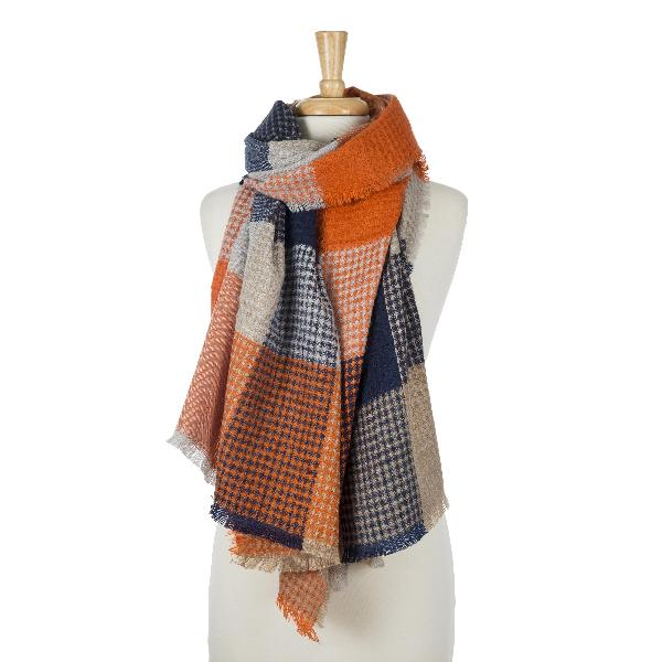 Wholesale orange navy blue beige patchwork print scarf frayed edges acrylic