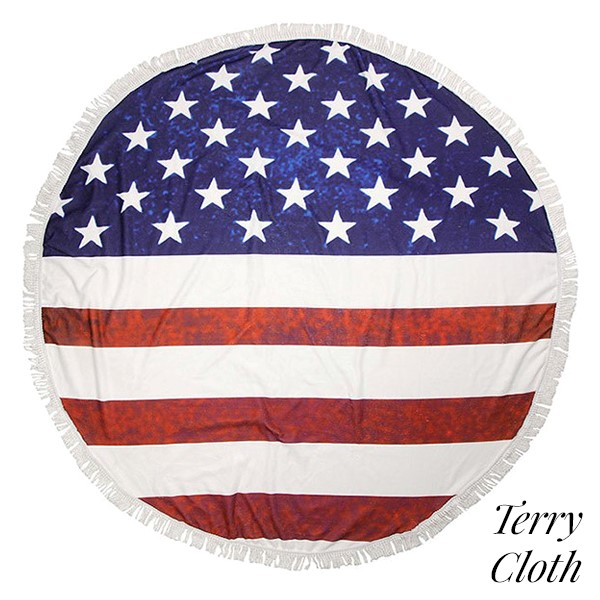 b0c1c304c43 Wholesale american flag printed terry cloth roundie beach towel frayed  edges pol
