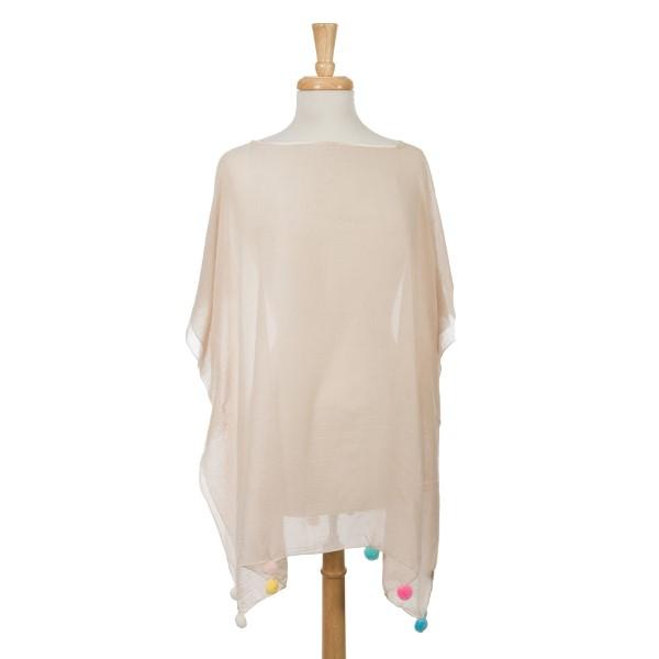 Wholesale beige short sleeve poncho multicolored pom poms bottom hem cotton poly