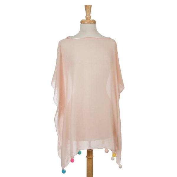Wholesale blush pink short sleeve poncho multicolored pom poms bottom hem cotton