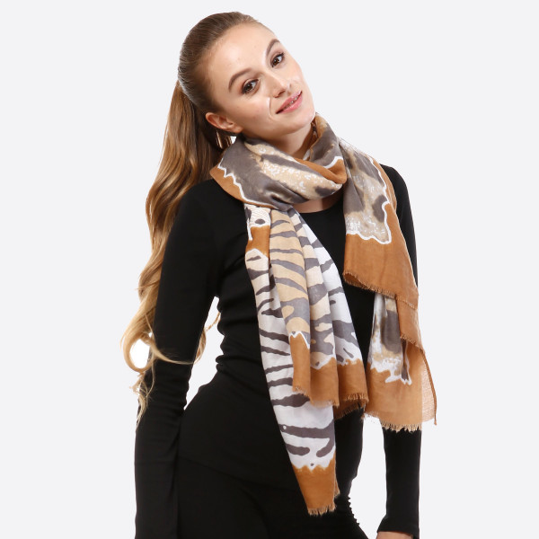 Wholesale mustard yellow gray open scarf animal prints frayed edges viscose