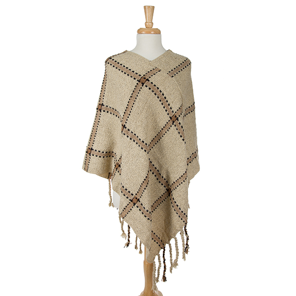 Wholesale ivory poncho plaid tassel accents acrylic One fits most